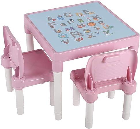 GOTOTO Ensemble de Table et 2 Chaise Enfant en Plastique PP de Qualit/é Sup/érieure Table dactivit/és pour Enfants Surface de Table avec Alphabet Meubles Enfants Bleu