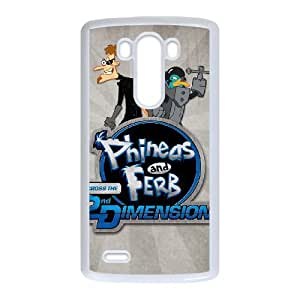 LG G3 Cell Phone Case White Phineas & Ferb Across the 2nd Dimension Phone Case Cover Clear Plastic XPDSUNTR05693