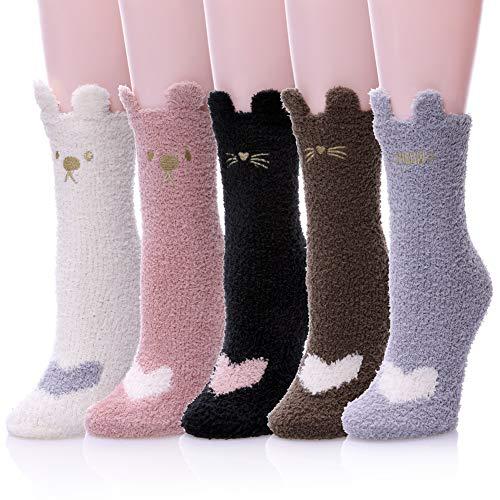 Womens Soft Cute Funny Animal Designe Microfiber Slipper Socks Cozy Fuzzy Winter Warm Socks 5 Colors 4