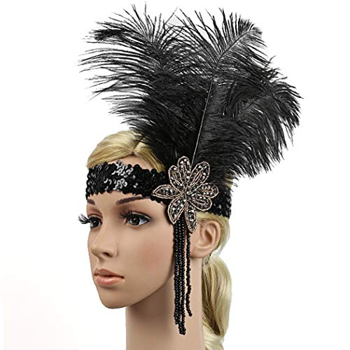 - Fascigirl Vintage Black 1920s Flapper Headband Feather Headwear Gatsby Style Headpiece