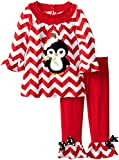 Rare Editions Little Girls' Toddler Chevron Legging Set with Penguin Applique, Red/White, 3T