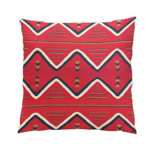Suklly Modern European Square Red and Black Zig Zag American Indian Print Hidden Zipper Home Sofa Decorative Throw Pillow Cover Cushion Case 26x26 Inch Two Sides Design Printed Pillowcase