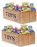 [2-Pack, 22inch Jute] XXL Jute Storage Container Bin Basket Organizer EASY Organizing Toy Storage Baby Kids Pet Toys Closet Basket for Magazines Books Gift Baskets