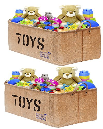 [2-Pack, 22inch Jute] XXL Jute Storage Container Bin Basket Organizer EASY Organizing Toy Storage Baby Kids Pet Toys Closet Basket for Magazines Books Gift Baskets