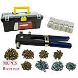 Muzata Hand Rivet-Nut Installation Tool Blind Rivet Nut Kit Set,Come with 900pcs Rivet Nuts,1 Rivet nut Gun and Carry Box