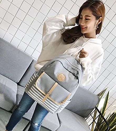 School Backpack Ankola Women Girls Canvas Preppy Shoulder Bookbags School Travel Backpack Bag (10.6'', Gray) by Ankola Bag