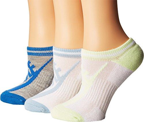 Nike Dri-FIT Cushion No-Show Tab Socks (Medium, Multi-Color Blue/Grey/Volt)