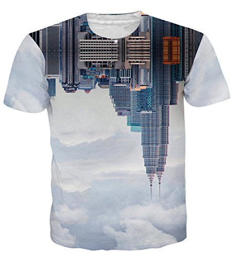 UNIFACO Men's Industry High-Rise Buildings City Designed t Shirt White(M,City Scape)