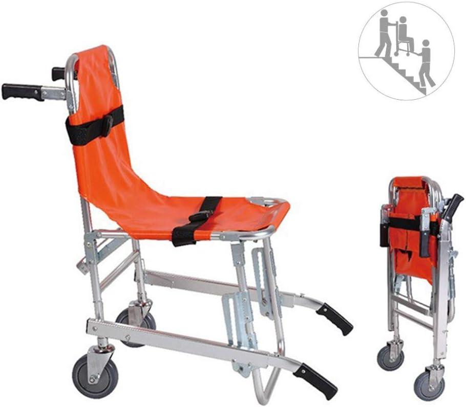 Silla de escalera de aleación de aluminio EMS - Peso ligero Plegable Ambulancia Evacuación de bomberos Ascensor médico Escalera Silla de evacuación de emergencia con hebillas de liberación rápida