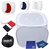 Phot-R 90x90x90cm Professional Photography Photo Studio Light Cube Tent Soft Box including 4 Coloured Backdrops Black, Blue, Red and White + Carry Case + Microfibre & Chamois Cloth