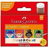 Guache, Faber-Castell, Caras & Cores, 161106CC, 15ml, 6 Tons de Pele