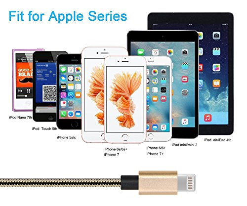 IVVO Lightning Cable 3Pack 3FT 6FT 10FT Nylon Braided 8 Pin Lightning Cable Cord USB Charging Cable charger for Apple iPhone 7/7 Plus/6/6s/6 Plus/6s Plus/5/5c/5s/SE,iPad iPod Nano iPod Touch by ivvo (Image #4)