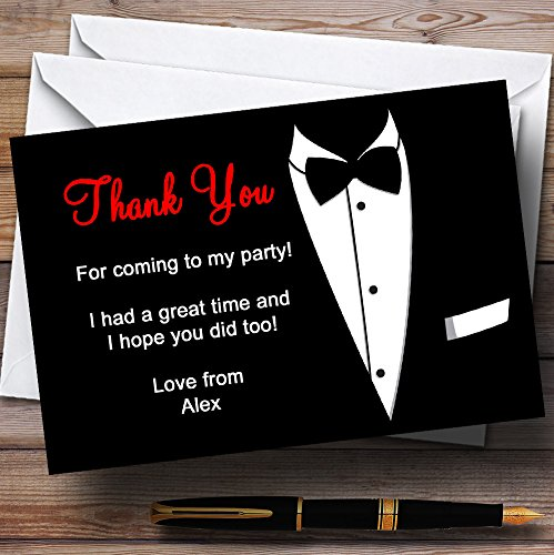 Red & White Black Tie Tuxedo Personalized Party Thank You Cards (Card White Heart)