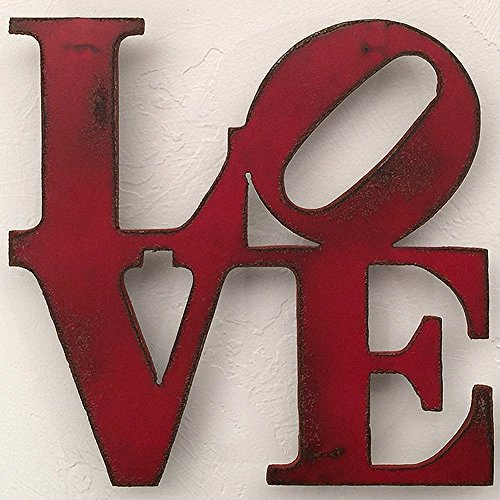 LOVE Metal Wall Art - Choose your size - 8x8, 11x11, 17x17, 24x24 or 36x36 inch tall - Choose LOVE, HOME, HOPE or AMOR sign - Choose your Patina Color ()