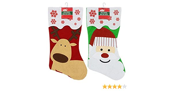 cb167ae6ad5 Amazon.com  2 Pack  Christmas House Felt Christmas  Santa and Reindeer   Character Stockings