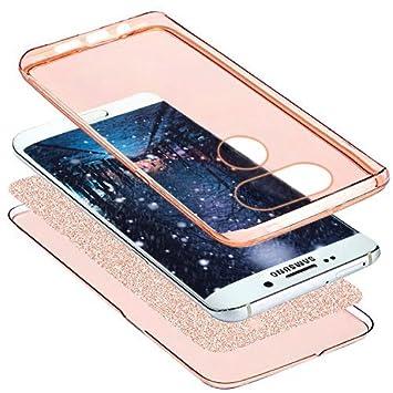 Funda LG G5,Carcasa LG G5,Funda para LG G5 Carcasa,Brillantes Lentejuelas Estrella Brillo Transparente TPU Silicona 360/°Full Body Fundas Skin Cover Carcasa Silicona Funda Case para LG G5,Oro rosa