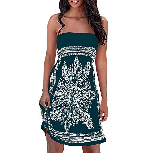 Londony Cover Ups for Swimwear, Womens Summer Dress Strapless Floral Print Bohemian Casual Mini Dress Army Green