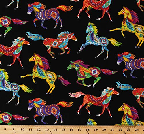 Cotton Southwestern Horses Decorated Horse Aztec Tribal Designs Feathers Bright Multi-Color Animals on Black Cotton Fabric Print by The Yard - Fabric Print Southwestern
