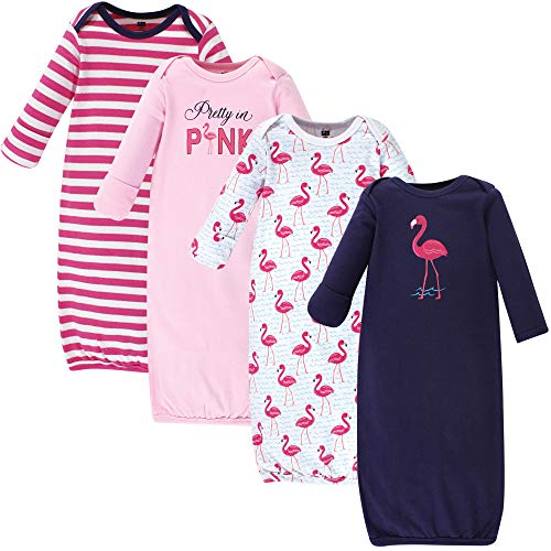 Hudson Baby Unisex Baby Cotton Gowns, Bright Flamingo 4-Pack, 0-6 Months ()