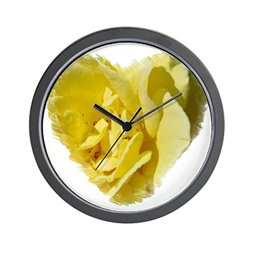 CafePress - Yellow Rose Heart Wall Clock - Unique Decorative 10
