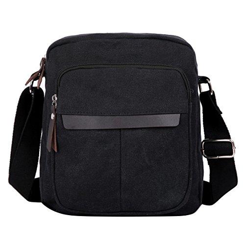 Eshow Men's Small Canvas Shoulder Bag Cross body Everyday Messenger Bag Travel School Work ()