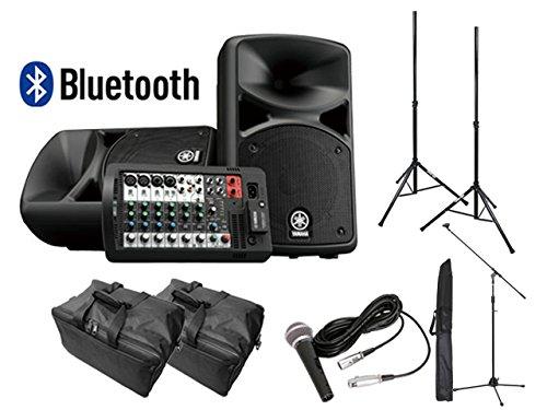 【スピーカースタンド+マイクセット+ケース付】YAMAHA Bluetooth対応 STAGEPAS400BT PAシステム   B07FCBKFZG