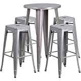 Flash Furniture 24'' Round Silver Metal Indoor-Outdoor Bar Table Set with 4 Square Seat Backless Stools