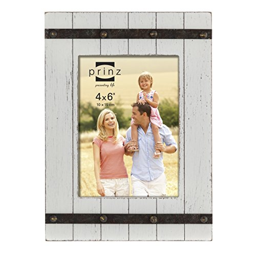Prinz Cooper Distressed Wood Plank Frame with Faux Metal Band, 4 by 6-Inch, White