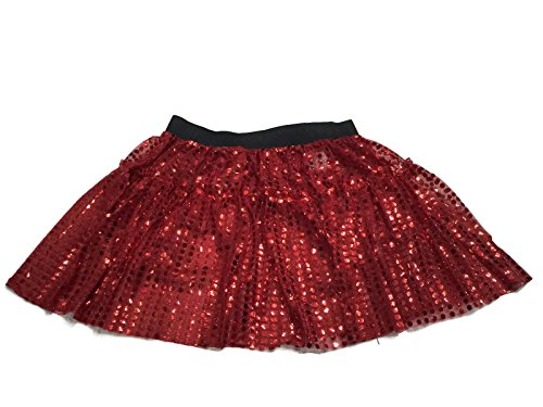 Rush Dance Sparkle Sequin Running Skirt Race Costume Glitter Ballet Tutu 5K (L/XL, Red) (Dirty Dancing Halloween Costumes)