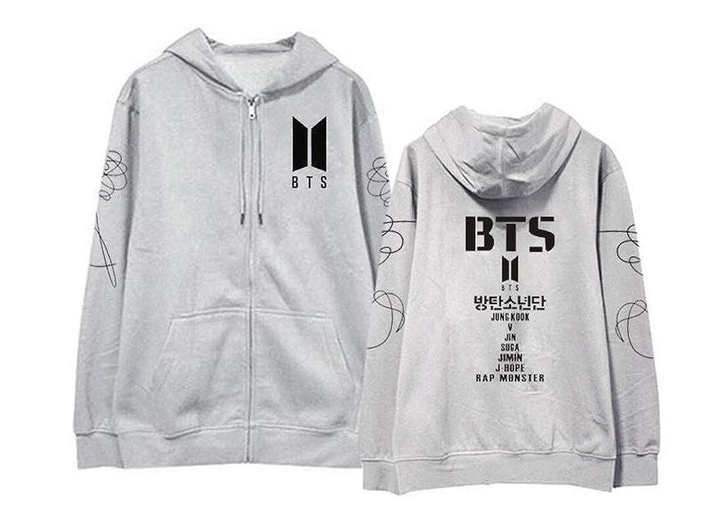 Youngate Kpop BTS Love Yourself Hoodies Front Zipper Fleece Sweatshirts Jackets