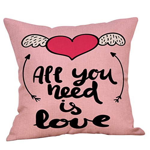 Littay Throw-Pillow-Covers, Happy Valentine's Day Throw Pillow Case Sweet Love Square Cushion -