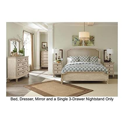 Signature Design By Ashley Demarlos Bedroom Set With King Bed Nightstand Dresser And Mirror