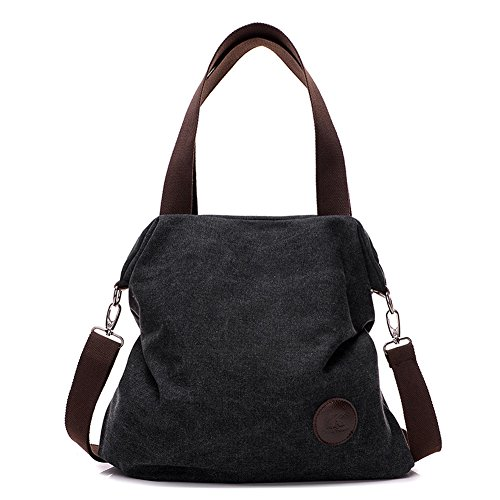 Women's Casual Canvas Tote Bags Shoulder Handbag Crossbody Bag (Black)