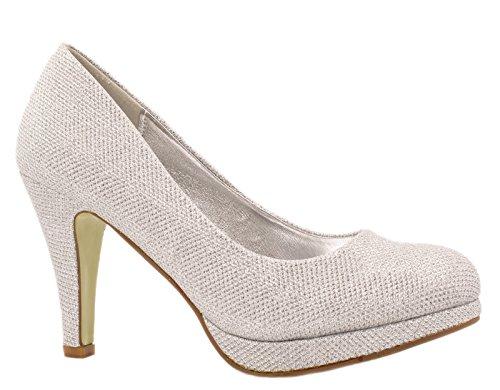 Elara Damen Pumps | Plateau High Heels Glitzer | Hochzeit Stiletto| chunkyrayan Silber
