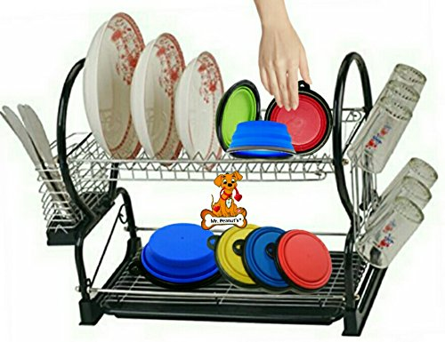Mr. Peanut's Collapsible Dog Bowls, Set of 4 Colors, Dishwasher Safe BPA FREE Food Grade Silicone Portable Pet Bowls, Foldable Travel Bowls for Feed & Water on Journeys, Hiking, Kennels & Camping