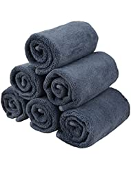 HOPESHINE Facial Cloths Towels Microfiber Makeup Removing Cloths Fast Drying Face Wash cloths 6 pack (12 inch x 12 inch, Grey)