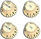 Top Hat Bell Style Guitar Knobs, 4pcs Cream with Gold