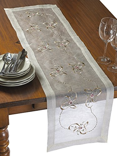 HomeCrate Luxurious Lace Embroidered Design With Beads And Bows 14