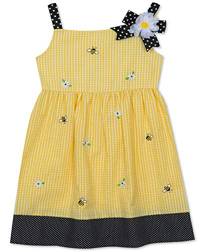Rare Editions Yellow Seersucker Bumblebee Dress (2t-6x) (4t/4)