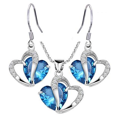 MJARTORIA Femme Bijoux Ensemble Collier Boucle d'Oreille Strass Forme Coeur Bleu 1 Set