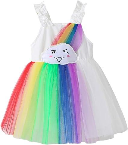 Autumn Toddler Baby Girl Princess Dress Kids Ranibow Dance Party Casual Dress