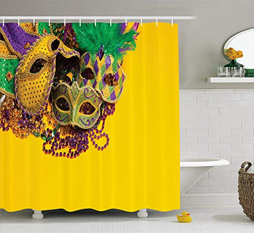 Afagahahs Mardi Gras Shower Curtain Festive and Colorful Group of Venetian Carnival Masks and Accessories Fabric Bathroom Decor Set with Hooks Yellow Purple -