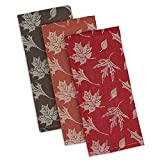 DII Design Imports Rustic Fall Leaves Soft Cotton Jacquard Kitchen Dish Towels Set of 3 ~ Red Brown Orange ~ Thanksgiving ~ Autumn