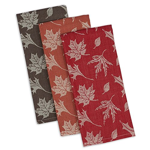 DII Design Imports Rustic Fall Leaves Soft Cotton Jacquard Kitchen Dish Towels Set of 3 ~ Red Brown Orange ~ Thanksgiving ~ Autumn by Design Imports