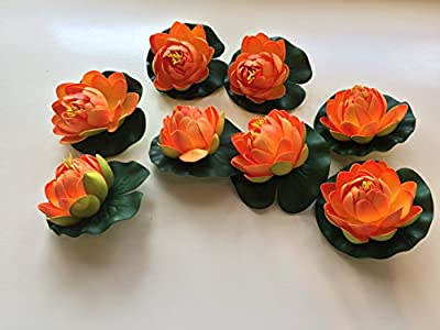 BEST FLOATING FLOWERS SET of 8 for Weddings - Pools - Holidays - Aquarium - Wedding Decorations - Hot Tubs - Small 4.5 Inches Each