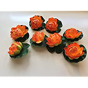 BEST FLOATING FLOWERS SET of 8 for Weddings - Pools - Holidays - Aquarium - Wedding Decorations - Hot Tubs - Small 4.5 Inches Each 33