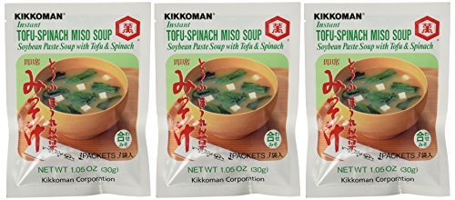 Kikkoman - Instant Tofu-Spinach Miso Soup Mix (9 Pockets in 3 Packs) -3.15 Oz
