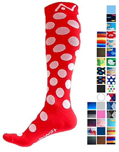 A-Swift Compression Socks for Women & Men - Polka Dot Red, Small