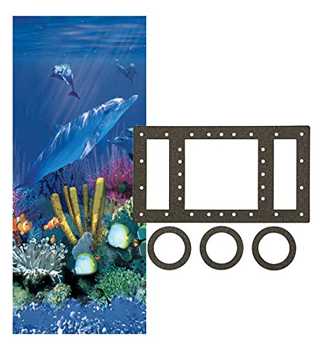 24-Foot Round Antilles Dolphin Liner | Overlap Style | 48-or-52-Inch Wall Height | 25 Gauge | Universal Gasket Set Included | Designed for Steel Sided Above-Ground Swimming - Pool Doughboy Liners