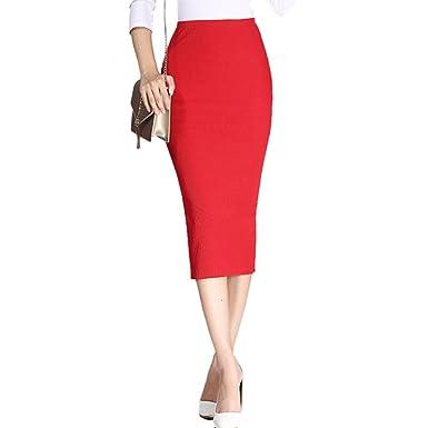 c11848cd0b71 Femme Jupe Crayon Taille Haute en Coton